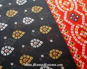 Black Red Tie Dye Cotton, Saree Fabric By The Yard, Sheer Cotton Fabric, Bandhej Sari Fabric, Indian Bandhani Fabric, Black Cotton Fabric