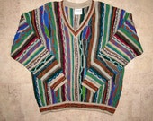 COOGI Australia Sweater size Mens XL Tall Cotton, Long Sleeve V Neck Sweater, Hipster Textured 13 Colors Bold COLORFUL Multi 3D Stripe