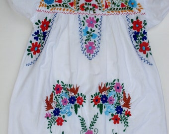 Mexican Dress Colorful Hand Embroidery Flowers Birds Boho Summer Festival Wedding S Small 35 inch Bust Midi Maxi Dress