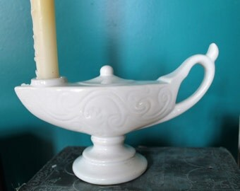 Vintage Aladdin's Lamp Candle Holder, Genie Lamp