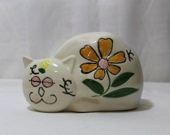 Large Vintage Porcelain Cat Figurine With Flowers