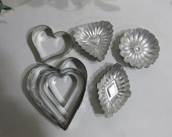 Tart Tins Set of 11 Molds Sandbakkel Candy or Soap Plus 4 Heart Cookie Cutters
