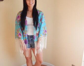 Fringed kimono, fringed blouse, boho chic, coachella, festival, handmade. ooak