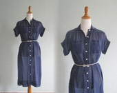 70s does 40s Sheer Navy Blue Polka Dot Dress - Vintage Navy Dot Day Dress - Vintage 1970s Dress L XL