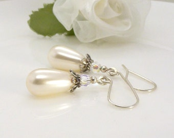 Sterling silver pearl drop earrings, Simple long vintage style dangle ivory pearl earrings, wedding bridal jewelry
