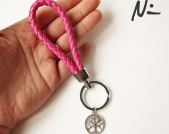Pink Faux Leather Tree of Life Keychain