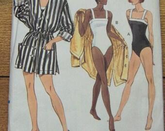 vintage 1990 Vogue pattern 7761 misses swimsuit and cover-up beachwear sz 12-14-16 uncut