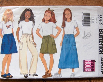 1998 butterick pattern 5966 girls top shorts skirt pants sz 7-8-10 uncut