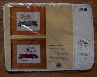 vintage 1986 needlework kit Creative Circle CAR CLASSICS nip (frames and mats are NOT Included)