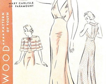 Hollywood 1416 1930s Nightgown Cape One-piece nightgown cape princess fitting skirt, halter bodice Vintage Sewing Pattern