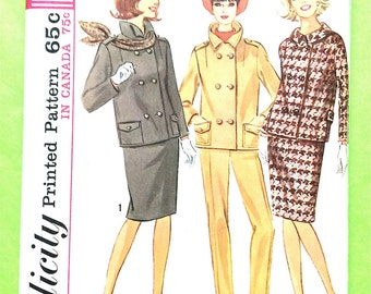Mod 60s Separates Simplicity 8129 Misses Suit jacket slim skirt dart-fitted tapered pants side zipper closure Vintage Sewing Pattern Bust 32