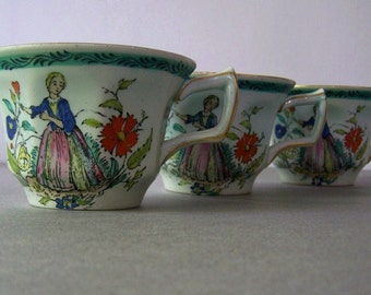 3 Vintage Hand Painted Tea Cups ~  Pale Green ~ Adams Pottery England ~ Woman in Garden