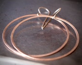 Extra large 14k pink gold hammered hoop earring
