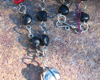 Handmade Raven and Skull Rosary Link Necklace~Red and Black