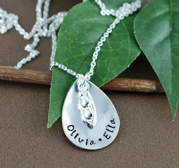 Hand Stamped Mommy Necklace, Three Peas, Mommy Jewelry, Personalized Jewelry, Pea in a Pod Necklace, Custom Pea in a Pod Necklace
