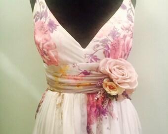 Lavender Floral Wedding Dress Silk Chiffon Size 8
