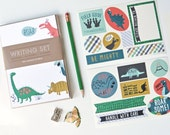 kids stationery, dino, kids writing, pen pal, notepad set, dinosaur stickers