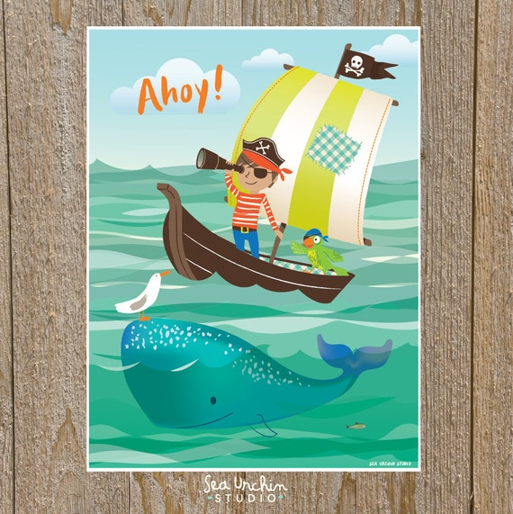 Pirate wall art - nursery wall decor for boys, kids room art, bathroom art