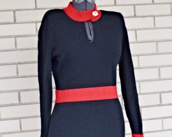 Vintage red and black sweater dress