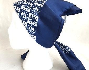 Rare 60s Blue And White American EAGLE Baar And Beards Scarf / Vintage AMERICANA Headscarf