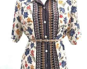 Vintage White And Navy FLORAL Button Up Blouse / Liz Claiborne / Womens Size Large
