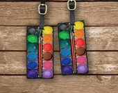 Paintset Printed Personalized Luggage Tags Watercolor Paint Set Paintset Metal Luggage Tag Set Custom Info On Back, 2 Tags Choice of Straps