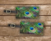 Personalized Luggage Tags Peacock Feather  Metal Luggage Tag Set Custom Info On Back, 2 Tags Choice of Straps