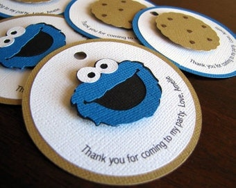 Cookie Monster Party Favor Tags, Cookie Monster Birthday Party, Cookie Monster Gift Tags, Cookie Monster Party Favor, Favor Tags, Set of 12