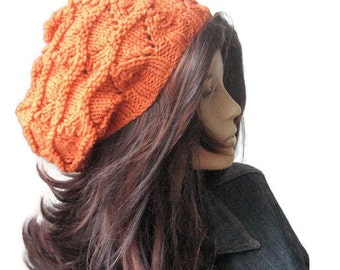 Hand Knit Hat, Pumpin Orange Lace Slouchy Hat, The Beverly Hat, Knitwear, Vegan Knits, Womens Accessories, Fall Accessories, Orange Knit Hat