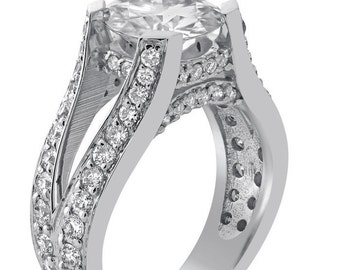 9mm round  cut MOISSANITE & diamonds spit shank style engagement ring 14K white gold R77M