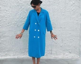 Vintage 1960s Pastel Blue Button Down Spring Linen Coat