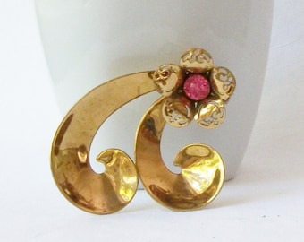 Vintage CORO Pink Flower Brooch, Vintage Jewelry by Perini