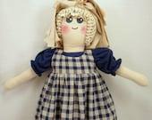 Plastic Bag Holder Doll, Navy Blue Homespun, Primitive Doll, Country Kitchen, Kitchen Storage, Grocery Bag Holder, Rustic Decoration