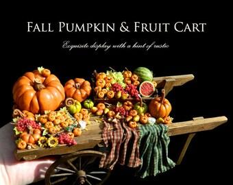 Luxury Rustic Fall Pumpkin & Fruit Cart - Artisan fully Handmade Miniature Dollhouse Food in 12th scale.