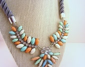 Statement necklace, gift for women. White, mint green, pink, rhinestone necklace. Gray rope chain. Adjustable necklace.