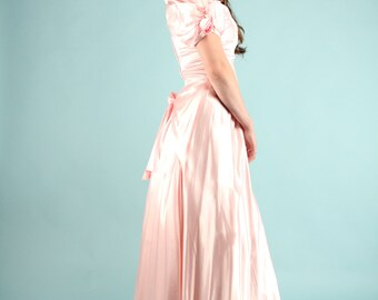 Vintage 80s Pink Satin Dress Maxi Gown Puffy Rosette Sleeves Sweetheart Small