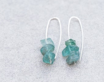 Raw Apatite Modern Hook Earrings Argentuim Sterling Silver mint blue Handmade Beach Minimalist Jewelry minimal chic