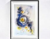 Original Watercolour Abstract Artwork Blue grey yellow art modern abstract painting abstract Lyrical  artwork abstract blue painting yellow