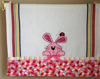Appliqued Easter Bunny And Lady Bug Jelly Beans Hand Towel