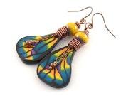 Yellow and Purple Butterfly Wings Earrings - Bohemian Earrings - Polymer Clay Earrings - Boho Earrings - Artisan Earrings - Copper Earrings