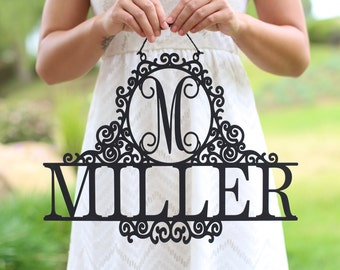 Personalized Newlywed Sign with Monogram and Last Name Wedding Gift Bridal Shower Present Decor (NVMHDA1336)