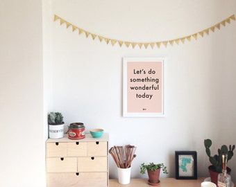Typographic inspirational print poster Something Wonderful creative art typography peach home decor