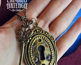 Doorotea Clouse - Necklace Anthropomorphic magical lock golden key  pendant creature art doll ooak pure sculpt