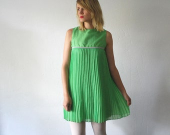 60s dolly dress. pleated mini dress. lime green chiffon dress - xxs, xs