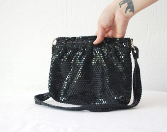 70s sequined purse. disco purse. black sequin bag