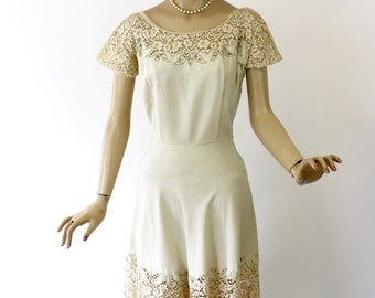 Vintage 50s Lace Dress Ivory Line & Lace Cutwork Wedding Tea Party Dinner Dress Bust 38