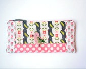 """Zipper Pouch, 4.75x10.25"""" in Pink, Cream, Green, and Coral Birds and Polka Dots with Handmade Felt Bird Embelishment, Bird Pencil Case"""