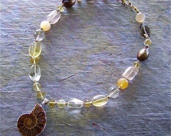 Ammonite Fossil Pendant & Multistone Gem and Pearl Necklace - Citrine - Runway Glamour