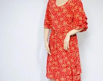 Vintage Dress Floral Silk Ruffle Dress Women's Dress Designer Dress Size 12