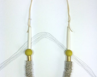 DAY - Leather, Cotton and Polymer Necklace - Ecru and Yellow